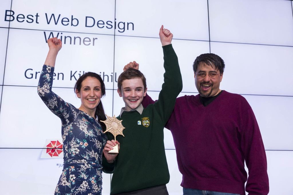 Ruth Morrissey and Jamie Mulqueen, St Michael's Community College, Clare with Bill Liao, CoderDojo 33