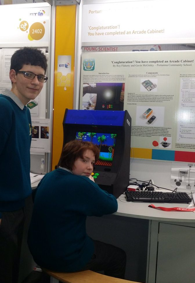Roy (left) and Gavin won first place in the Junior Technology section! Roy also attends CoderDojo Athenry.